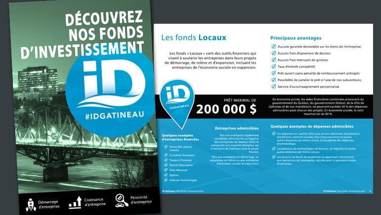 Une brochure pour promouvoir les fonds d'investissement d'ID Gatineau